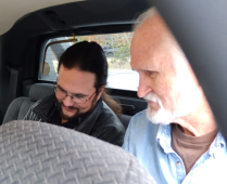 Jason Foreman and Bill Barlow prepare for the scene