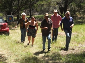 Carla Daws, Celeste, John, Rob Mahoney and Jay Pennington either run over to check on Rusty or lunch break was called.