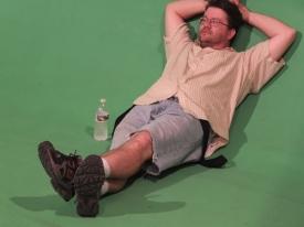 Jason marion relaxes between scenes